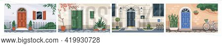 Front View Of Home Walls With Closed Doors, Windows With Wooden Shutters, Mailboxes, Potted Plants,