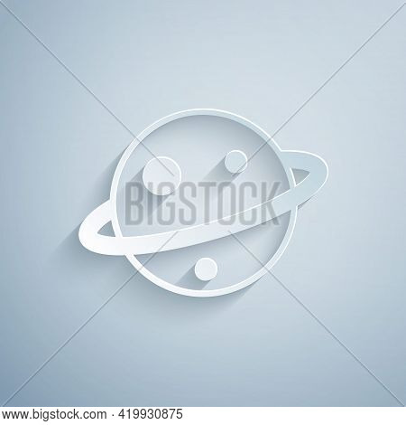Paper Cut Planet Saturn With Planetary Ring System Icon Isolated On Grey Background. Paper Art Style