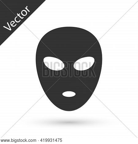 Grey Alien Icon Isolated On White Background. Extraterrestrial Alien Face Or Head Symbol. Vector