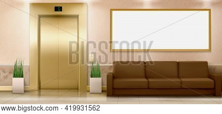 Lobby Interior With Gold Lift Doors, Couch And Empty Banner, Hall With Closed Elevator, Couch And Po