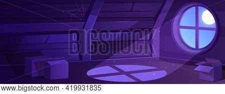 House Attic Interior At Night, Empty Old Mansard Illuminated With Moon Light Falling Through Round W