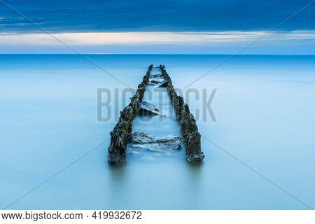 Breakwater In Ijsselmeer Lake, Netherlands Near Hindelopen,