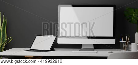 3D Rendering, Loft Home Office Desk With Computer, Digital Tablet, Supplies And Decorations