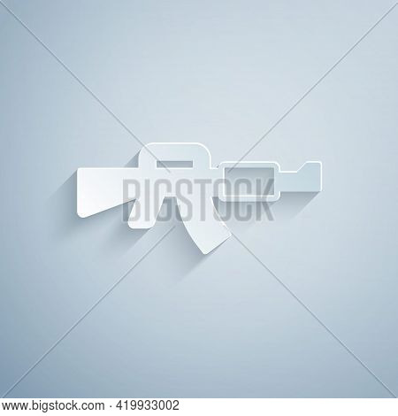 Paper Cut M16a1 Rifle Icon Isolated On Grey Background. Us Army M16 Rifle. Paper Art Style. Vector