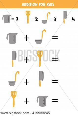 Addition With Different Kitchen Tools. Educational Math Game For Kids.