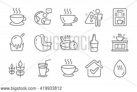 Ice Cream, Cappuccino And Cashew Nut Line Icons Set. Frying Pan, Coffee Shop And Gluten Free Signs.