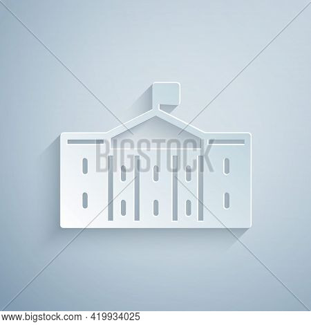 Paper Cut United States Capitol Congress Icon Isolated On Grey Background. Washington Dc, Usa. Paper