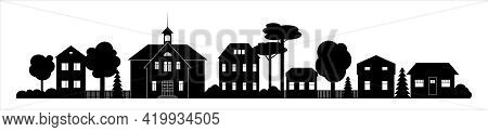 Small Town Or Village Silhouette With Chapel Houses Landscape Black And White