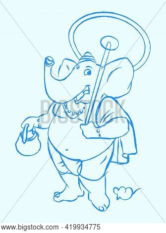 Drawing Or Sketch Of Lord Ganesha Silhouette And Outline Editable Illustration