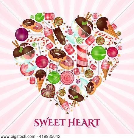 Sweet Heart Poster For Sweet Shop. Food Dessert, Donut And Candy, Confectionery Cake, Vector Illustr