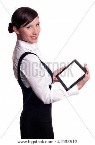 Businesswoman with touchscreen tablet computer