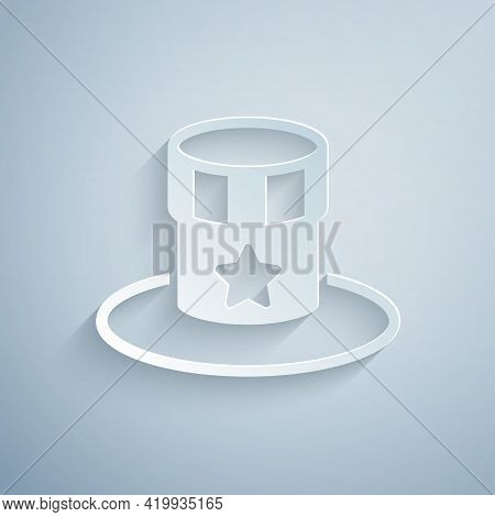 Paper Cut Patriotic American Top Hat Icon Isolated On Grey Background. Uncle Sam Hat. American Hat I