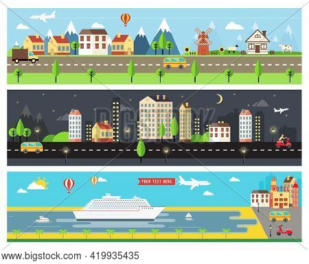 Beautiful Vector Cartooninzed City Landscape Banners For Webpages