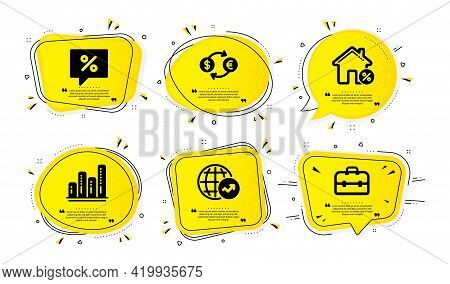 World Statistics, Loan House And Graph Chart Icons Simple Set. Yellow Speech Bubbles With Dotwork Ef