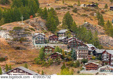 Zermatt, Switzerland Town Autumn Aerial View In Famous Swiss Ski Resort, Traditional Wooden Chalet
