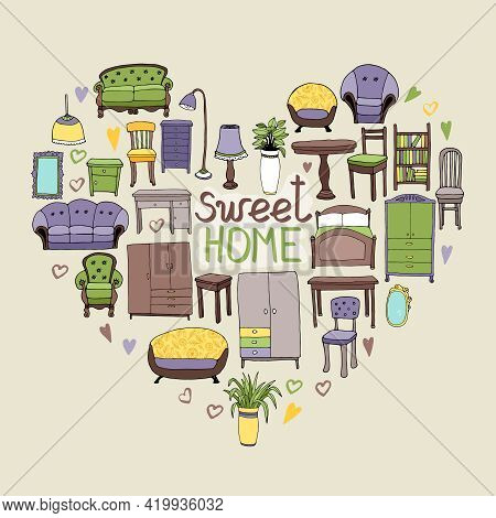 Sweet Home Concept With Various Home Accessories And Furniture Icons Arranged In A Heart Shape Symbo