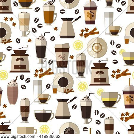 Seamless Coffee Pattern In Flat Style. Mug And Breakfast, Beverage And Espresso,  Hot And Caffeine.