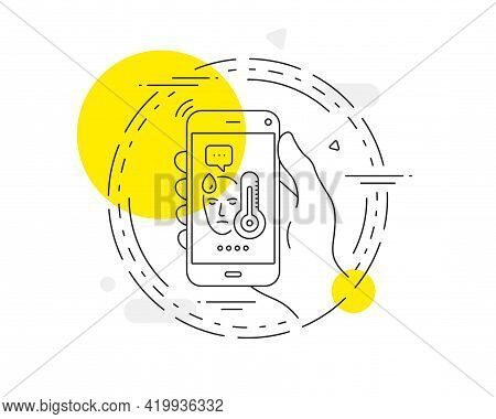 Sick Man With Fever Line Icon. Mobile Phone Vector Button. Temperature Thermometer Sign. Flu Illness