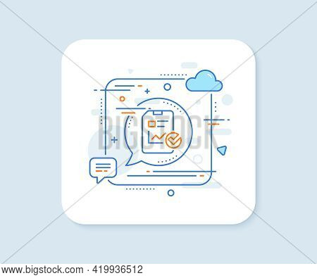Report Document Line Icon. Abstract Square Vector Button. Analysis Chart Or Sales Growth Report Sign