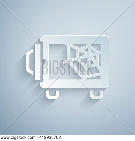 Paper Cut Safe Icon Isolated On Grey Background. The Door Safe A Bank Vault With A Combination Lock.