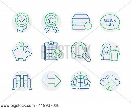 Line Icons Set. Included Icon As Winner Ribbon, Research, Approved Award Signs. Clean Shirt, Arena S
