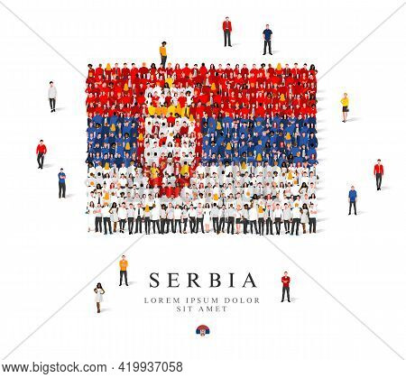A Large Group Of People Are Standing In Blue, Yellow, White And Red Robes, Symbolizing The Flag Of S