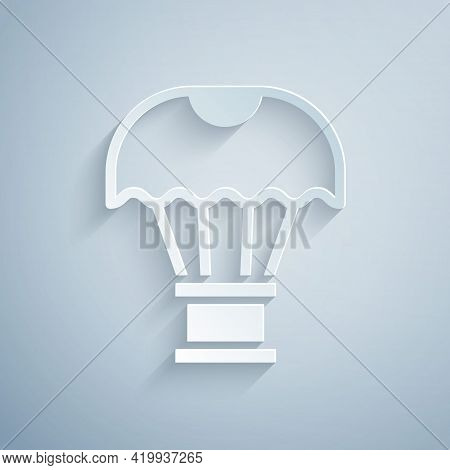 Paper Cut Box Flying On Parachute Icon Isolated On Grey Background. Parcel With Parachute For Shippi