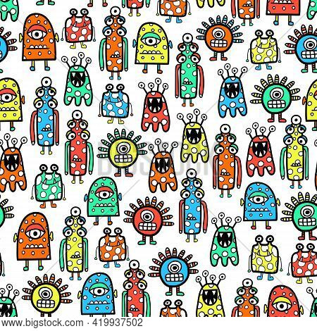 Seamless Pattern Cute Monsters And Aliens. Funny Childrens Repeating Vector Background Coloring Book