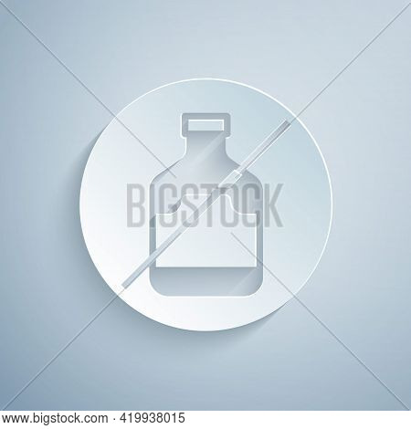 Paper Cut No Alcohol Icon Isolated On Grey Background. Prohibiting Alcohol Beverages. Forbidden Symb