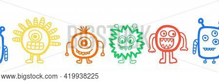 Kids Border Cute Monster Seamless Vector. Repeating Funny Aliens And Monsters Horizontal Repeating P