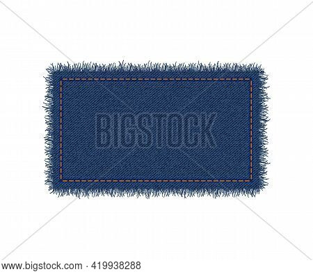 Denim Rectangle Shape With Stitches. Torn Jean Patchwith Seam. Vector Realistic Illustration On Whit