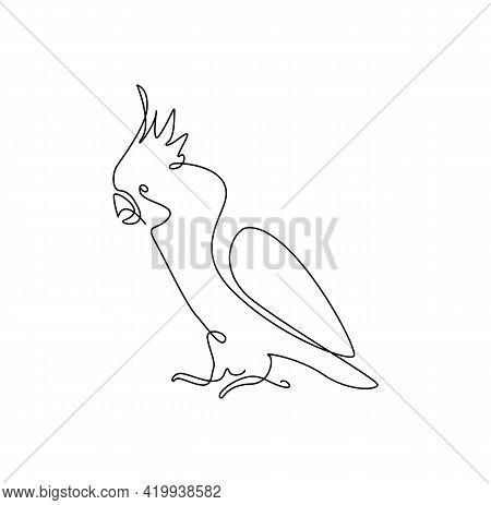 Cockatoo Parrots Bird One Line. Outline. Continuous Line. Vector Illustration.