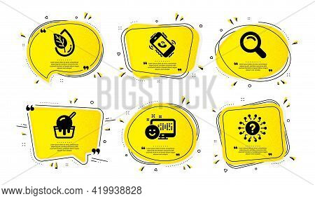 Call Center, Search And Organic Product Icons Simple Set. Yellow Speech Bubbles With Dotwork Effect.