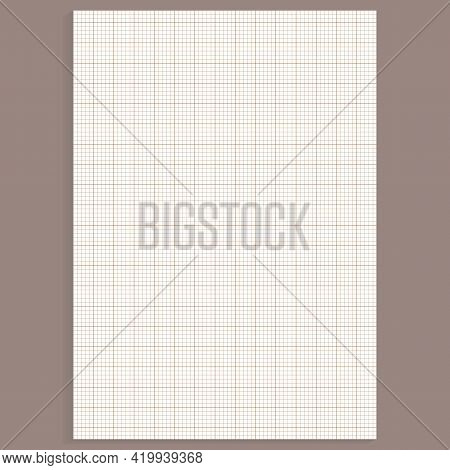 Grid Paper. Realistic Blank Lined Paper Sheet In A4 Format. Squared Background With Color Graph. Geo