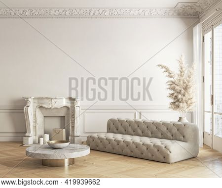 Classic White-beige Interior With Fireplace, Sofa, Coffee Table And Decor. 3d Render Illustration Mo