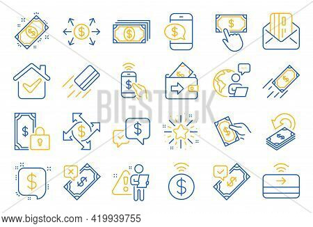 Payment Wallet Line Icons. Set Of Accept Money Transfer, Pay With Phone And Credit Card By Mail Icon