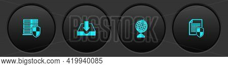 Set Server With Shield, Download Inbox, Earth Globe And Document Protection Icon. Vector