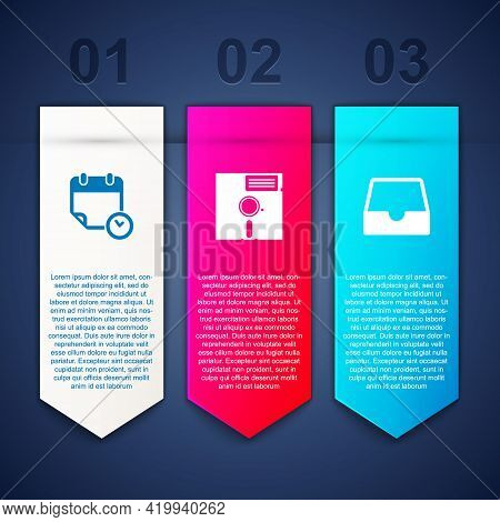 Set Calendar And Clock, Floppy Disk In The 5.25-inch And Social Media Inbox. Business Infographic Te