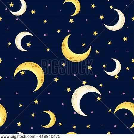 Holiday Background, Seamless Pattern With Stars And The Moon, Star Pattern, Moon And Stars Decoratio
