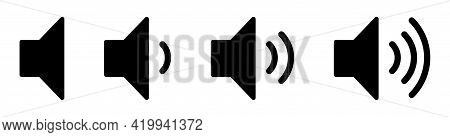 Set Of Volume Icons. Black Volume Sound Icons Isolated On White