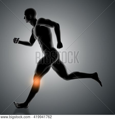 3D render of a male figure running with knee highlighted