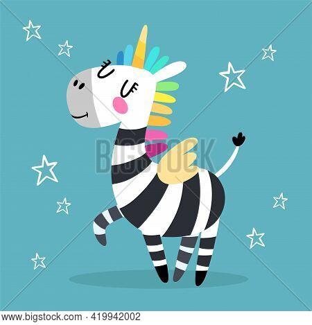 Zebra In Flat Cartoon Style. Funny Black And White Hand Drawn Horse. A Unicorn Rainbow. Vector Illus