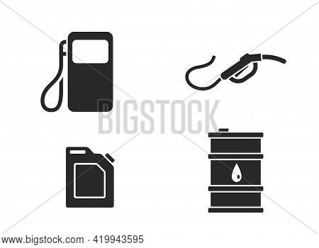 Fuel And Refueling Icon Set. Fuel Industry, Gasoline, Petrol And Diesel Symbol. Auto Gas Station Sym