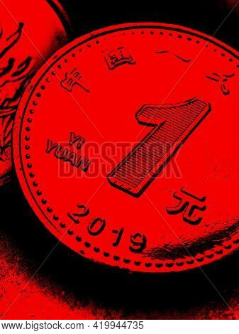 1 One Chinese Yuan Coin Close-up. Dark Black And Red Vertical Illustration About The Economy, Busine