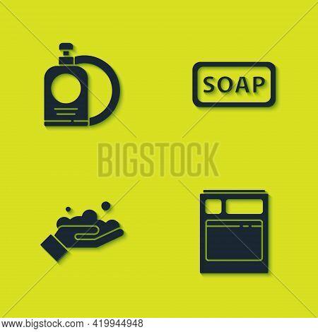 Set Dishwashing Liquid Bottle And Plate, Kitchen Dishwasher Machine, Washing Hands With Soap And Bar