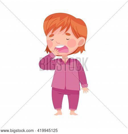 Cute Redhead Girl In Purple Pajamas Yawning Feeling Sleepy Vector Illustration