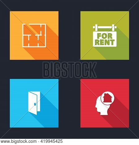 Set House Plan, Hanging Sign With For Rent, Closed Door And Man Dreaming About Buying House Icon. Ve