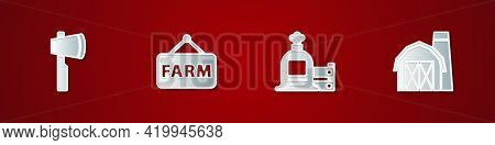 Set Wooden Axe, Signboard With Text Farm, Full Sack And Wooden Box And House Icon. Vector