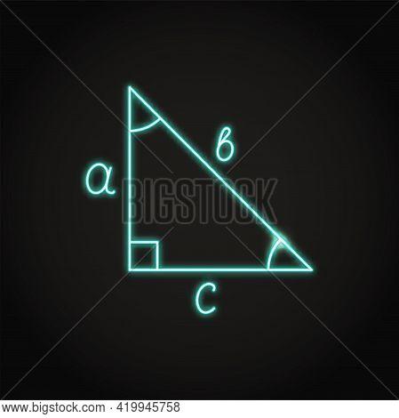 Neon Right Triangle Icon In Line Style