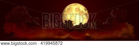 Panoramic Night Cumulus Clouds With Moon . Digital Nature 3d Illustration